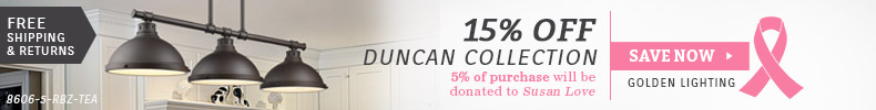 Golden Lighting | Breast Cancer Awareness | 15% Off Duncan Collections