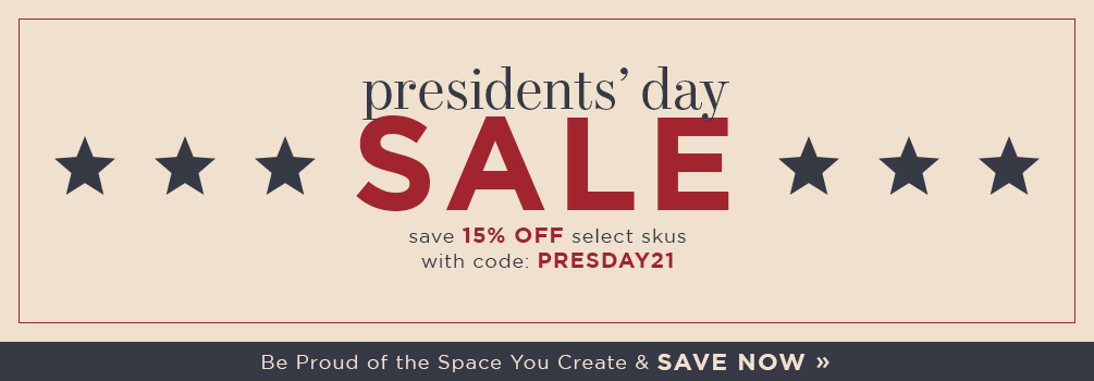 Presidents' Day Sale | save 15% Off Select Skus | with code: PRESDAY21 | Save Now (COPY)