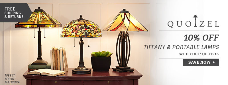 Quoizel | 10% Off Tiffany & Portable Lighting