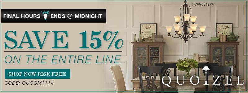 Save 15% on Quoizel!