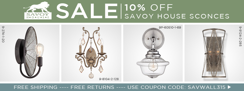 10% off Savoy House Wall Sconces!