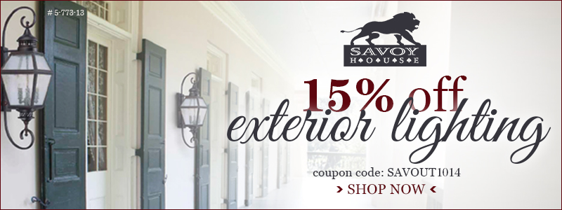15% off EXTERIOR LIGHTING from SAVOY HOUSE!
