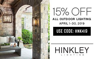 Hinkley Lighting | 15% OFF All Outdoor Lighting | April 1 - 30, 2019 | use code: HNK419