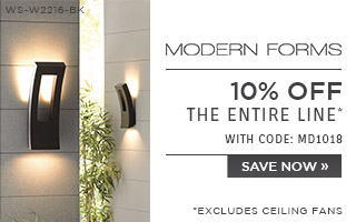 Modern Forms | 10% OFF The Entire Line* | with code: MD1018 | *excludes ceiling fans