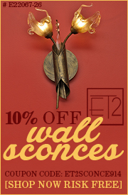 10% off ET2 WALL SCONCES!