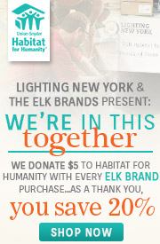 Save 20% when purchasing from the ELK Brands. We give $5 of every ELK Brands purchase to Habitat for Humanity!