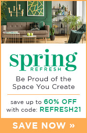 Spring Refresh | Be Proud of the Space You Create | Save up to 60% Off Lighting & Decor with code: REFRESH21 | Save Now