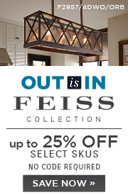 Out is In | Feiss | up to 25% Off Select Skus | No Code Required | Save Now