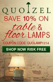 10% OFF QUOIZEL Table & Floor Lamps!