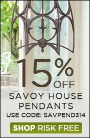 15% OFF SAVOY HOUSE PENDANTS!
