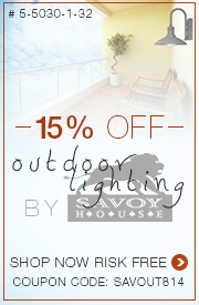 Save 15% on OUTDOOR LIGHTING by Savoy House!