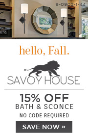 Hello Fall | Savoy House | 15% Off Bath & Sconce | No Code Required | Save Now