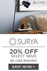 Surya | 20% OFF Select Skus | no code required | Save Now