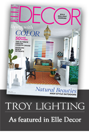 Troy Lighting featured in Elle Decor!
