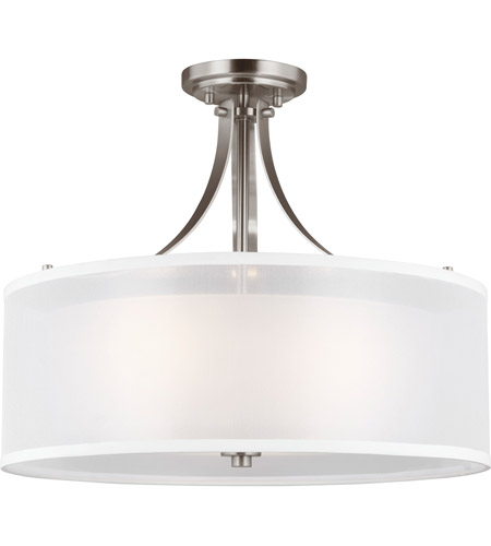 41ELIZABETH 46665-BNSE Anicetus 3 Light 19 inch Brushed Nickel Semi-Flush Mount Ceiling Light