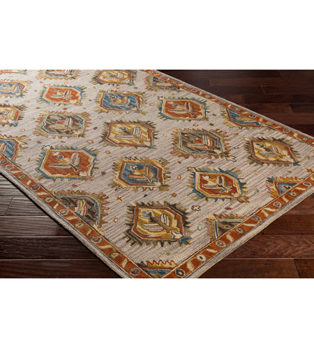 41ELIZABETH 47841-RB Aemilius 96 X 30 inch Rust/Coral/Mustard/Dark Blue/Denim/Light Gray Rugs aes2310_corner.jpg