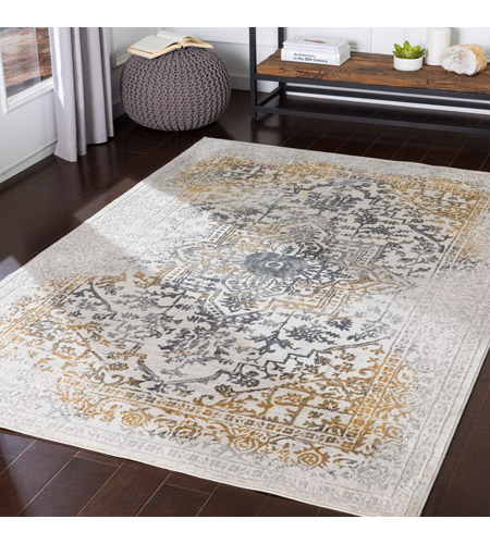 41ELIZABETH 48045-CG Ainsley 91 X 31 inch Charcoal/Medium Gray/Mustard/Light Gray Rugs, Runner ais2308-roomscene_201.jpg
