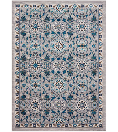 41ELIZABETH 50915-MG Amanda 67 X 47 inch Medium Gray/Sky Blue/Navy/Camel/Dark Brown/Ivory Rugs, Rectangle