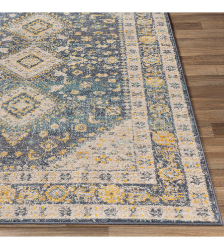 41ELIZABETH 51620-DG Aquamarine 87 X 63 inch Denim/Saffron/Cream/Wheat/Aqua/Light Gray/Charcoal Rugs cyl2322-front.jpg