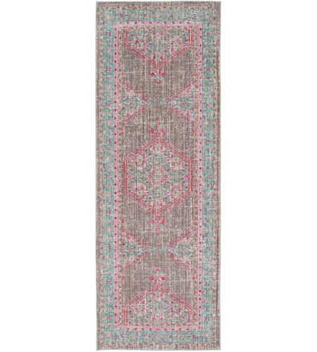 41ELIZABETH 52522-TP Ayland 94 X 34 inch Teal/Taupe/Bright Pink Rugs, Polyester