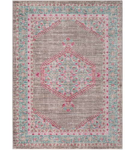 41ELIZABETH 52524-TP Ayland 65 X 47 inch Teal/Taupe/Bright Pink Rugs, Polyester