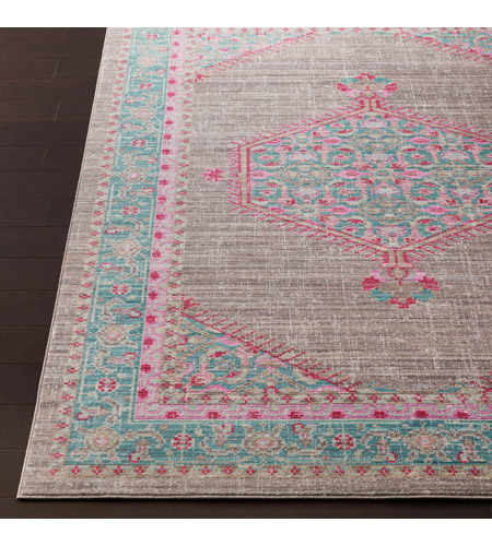 41ELIZABETH 52522-TP Ayland 94 X 34 inch Teal/Taupe/Bright Pink Rugs, Polyester ger2315-front.jpg