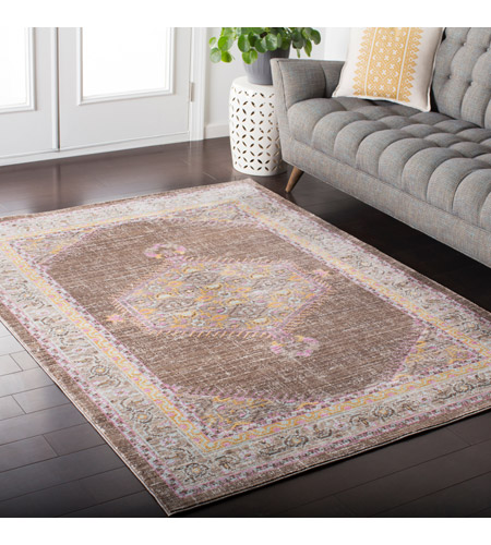 41ELIZABETH 52528-BP Ayland 34 X 24 inch Bright Pink/Dark Brown/Taupe/Bright Yellow Rugs, Polyester ger2316-roomscene_201.jpg