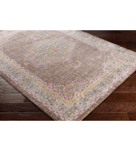 41ELIZABETH 52528-BP Ayland 34 X 24 inch Bright Pink/Dark Brown/Taupe/Bright Yellow Rugs, Polyester ger2316_corner.jpg