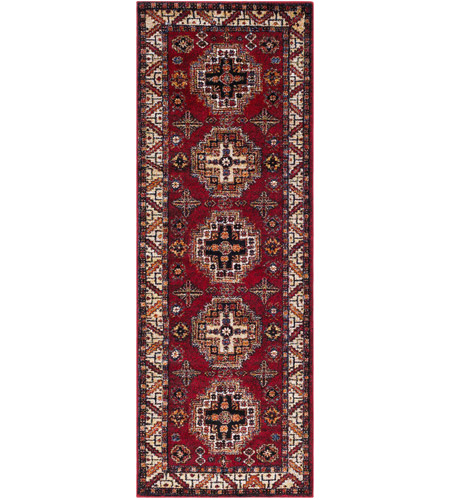41ELIZABETH 57481-DR Brandon 87 X 31 inch Dark Red/Black/Ivory/Bright Orange/Tan/Lime Rugs, Polypropylene