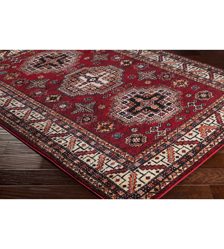 41ELIZABETH 57481-DR Brandon 87 X 31 inch Dark Red/Black/Ivory/Bright Orange/Tan/Lime Rugs, Polypropylene srp1007_corner.jpg