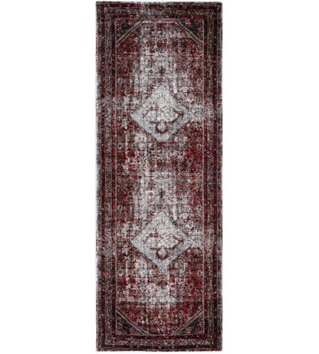 41ELIZABETH 57488-MG Brandon 87 X 31 inch Medium Gray/Black/Ivory/Dark Red/Tan Rugs, Polypropylene