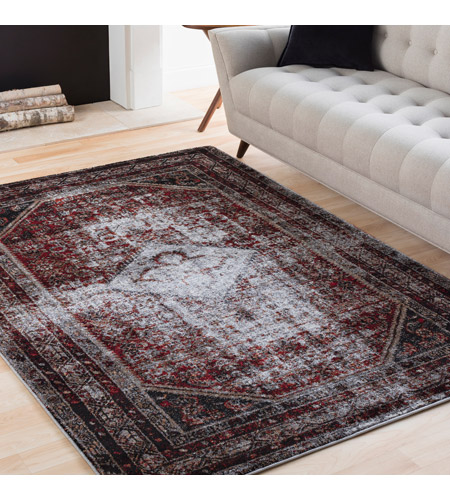 41ELIZABETH 57488-MG Brandon 87 X 31 inch Medium Gray/Black/Ivory/Dark Red/Tan Rugs, Polypropylene srp1009-roomscene_201.jpg