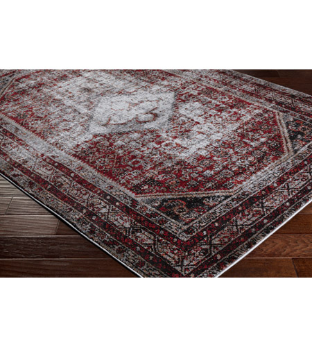 41ELIZABETH 57488-MG Brandon 87 X 31 inch Medium Gray/Black/Ivory/Dark Red/Tan Rugs, Polypropylene srp1009_corner.jpg