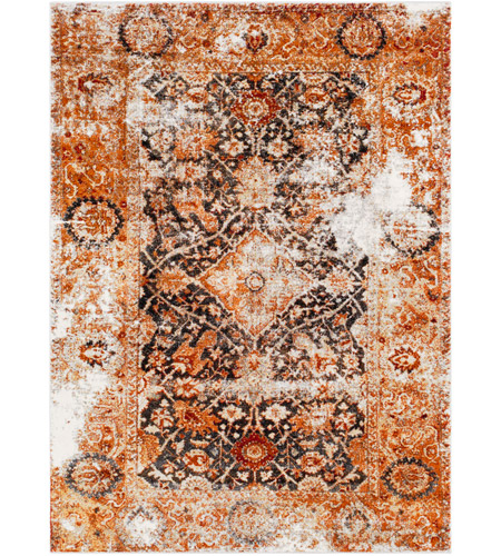 41ELIZABETH 57511-BO Brandon 87 X 63 inch Bright Orange/Black/Ivory/Dark Red/Medium Gray Rugs, Rectangle