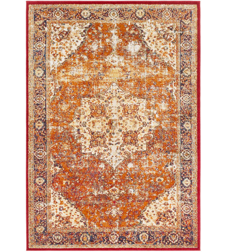 41ELIZABETH 57532-BO Brandon 87 X 63 inch Bright Orange/Dark Red/Bright Yellow/Ivory Rugs, Rectangle