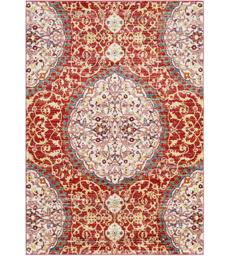 41ELIZABETH 57546-DR Brandon 87 X 63 inch Dark Red/Bright Orange/Ivory/Bright Yellow Rugs, Rectangle
