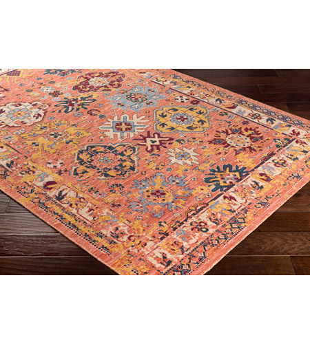 41ELIZABETH 57884-BO Brea 33 X 24 inch Bright Orange/Medium Gray/Wheat/Denim/Dark Red Rugs, Rectangle tzr1001_corner.jpg