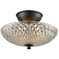 41 Elizabeth 40170-ORCC Alden 2 Light 12 inch Oil Rubbed Bronze Semi Flush Mount Ceiling Light