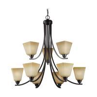 41 Elizabeth 40610-FBCP Rutherford 9 Light 34 inch Flemish Bronze Chandelier Ceiling Light in Creme Parchement Glass