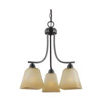 41ELIZABETH 40599-FBCP Rutherford 3 Light 18 inch Flemish Bronze Chandelier Ceiling Light in Creme Parchement Glass
