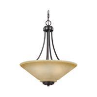 41ELIZABETH 40598-FBCP Rutherford 3 Light 19 inch Flemish Bronze Chandelier Ceiling Light in Creme Parchement Glass