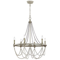 Branch 6 Light 28 inch French Washed Oak and Distressed White Wood Chandelier Ceiling Light