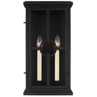 41 Elizabeth 46429-TBC Leyna 2 Light 18 inch Textured Black Outdoor Wall Lantern
