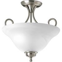 41 Elizabeth Alabaster 2 Light 13 inch Brushed Nickel Semi-Flush Mount Ceiling Light in Alabaster Glass