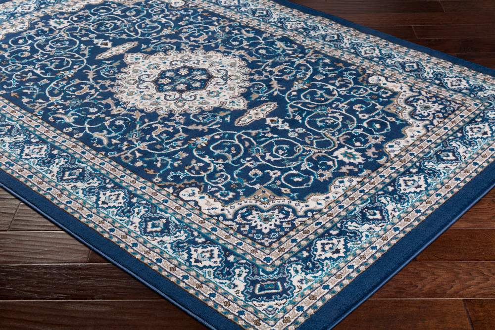 41ELIZABETH 50936-NB Amanda 87 X 63 inch Navy/Sky Blue/Dark Brown/Camel/Medium Gray/Ivory Rugs, Rectangle cmt2309_corner.jpg thumb