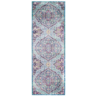 41ELIZABETH 52495-BP Ayland 94 X 34 inch Bright Purple/Pale Blue/Teal/Lime/Dark Green/Camel Rugs, Polyester thumb