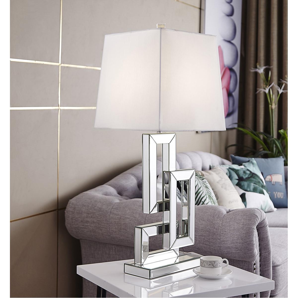 Table Lamp White Shade Mirrored Modern Living Room Bedroom Hallway