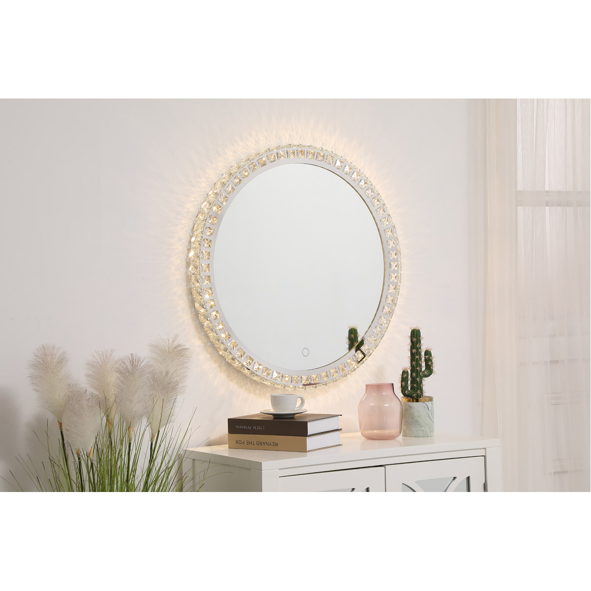 Wall Mirror Has Crystals Lighted Hollywood Bedroom Makeup Vanity Dimmable Lights Ebay