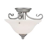 Livex Lighting 7303-91 Coronado 2 Light Brushed Nickel Flush Mount with White Alabaster Glass