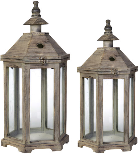 A&B Home 30381 Graca 23 X 12 inch Natural Patio Candle Lanterns, Set of 2 photo
